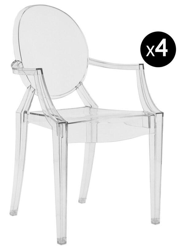 Stapelbarer Sessel Louis Ghost - 4er-Set Transparent Kartell Philippe Starck 1