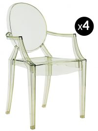 Louis Ghost stackable armchair - Set of 4 Transparent green Kartell Philippe Starck 1