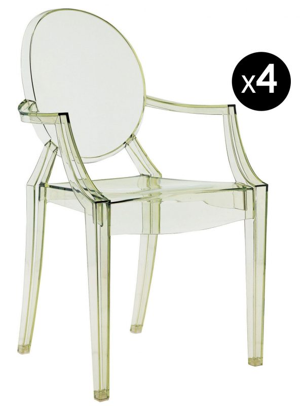 Louis Ghostスタッカブルアームチェア-4個セット透明な緑のKartell Philippe Starck 1