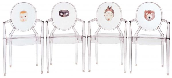 Louis Ghost積み重ね可能アームチェア-Kartell Philippe Starck 2透明マスク