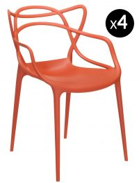 Masters Stackable Armchair - Lot of 4 Rust Orange Kartell Philippe Starck | Eugeni Quitllet 1