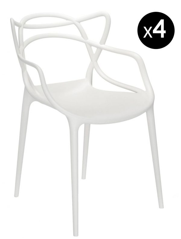 Masters Stackable Armchair - Lot of 4 White Kartell Philippe Starck | Eugeni Quitllet 1
