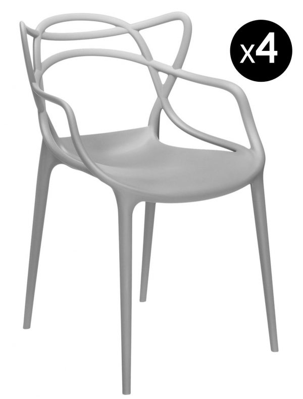 Masters stackable armchair - Lot of 4 Light gray Kartell Philippe Starck | Eugeni Quitllet 1