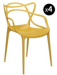 Masters stackable armchair - Lot of 4 Kartell Philippe Starck Mustard | Eugeni Quitllet 1
