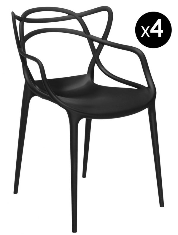 Masters Stackable Armchair - Lòt 4 Black Kartell Philippe Starck | Eugeni Quitllet 1