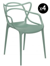 Masters stackable armchair - Lot of 4 Sage green Kartell Philippe Starck | Eugeni Quitllet 1