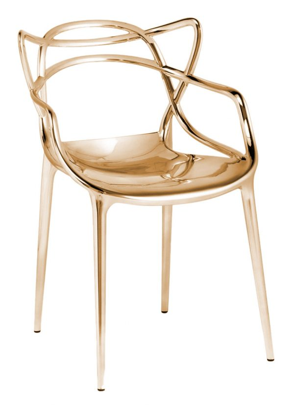 Masters stackable armchair - Metallic Gold Kartell Philippe Starck | Eugeni Quitllet 1