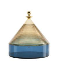 Scatola Trullo - Ø 25 x H 27 cm Blu|Giallo|Oro Kartell Fabio Novembre 1