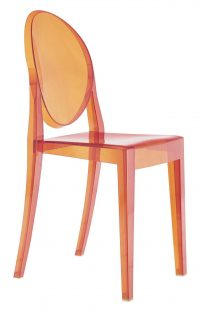 Victoria Ghost Orange Kartell Philippe Starck 1 cadeira empilhável