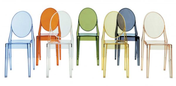 Victoria Ghost Stackable Chair - Σετ 4 Orange Kartell Philippe Starck 2