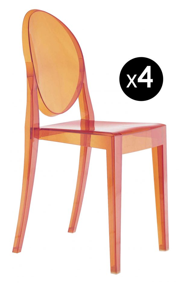 Victoria Ghost Stackable Chair - Σετ 4 Orange Kartell Philippe Starck 1