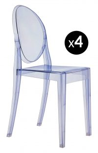 Victoria Ghost stackable chair - Set of 4 Light Blue Kartell Philippe Starck 1