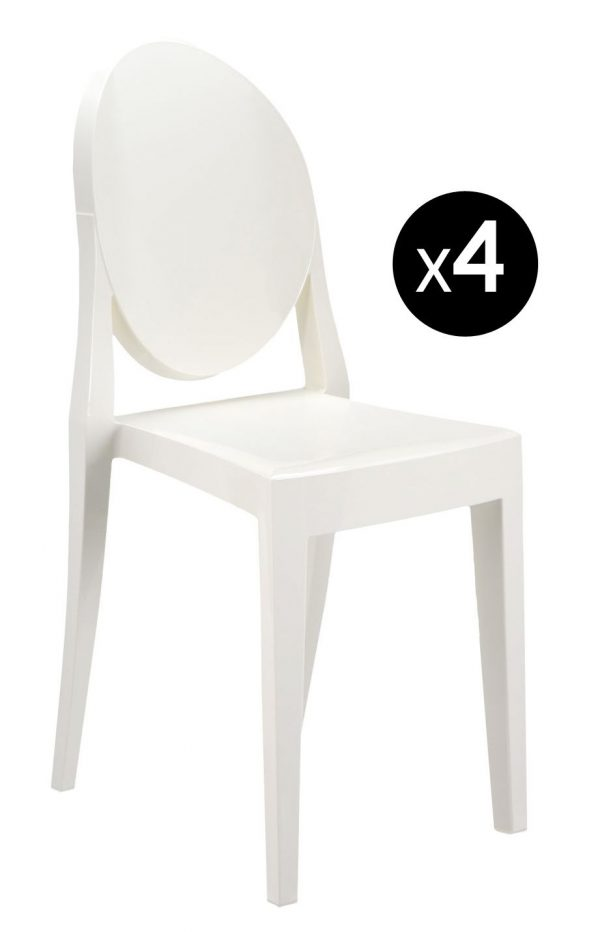 Victoria Ghost stackable chair - Set of 4 matt white Kartell Philippe Starck 1