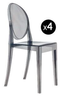 Sedia impilabile Victoria Ghost - Set di 4 Fumé Kartell Philippe Starck 1