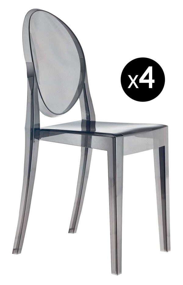 Victoria Ghost stackable chair - Set of 4 Fumé Kartell Philippe Starck 1