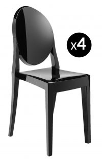 Chaise empilable Victoria Ghost - Lot de 4 noir mat Kartell Philippe Starck 1
