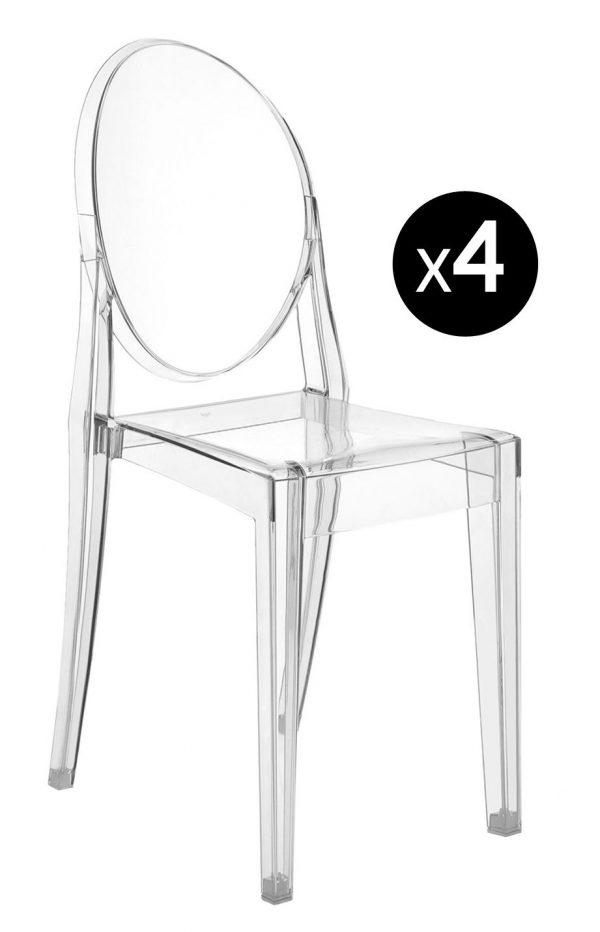 Victoria Ghost stackable chair - Set of 4 Transparent Kartell Philippe Starck 1