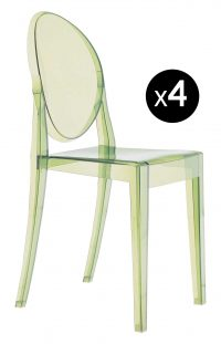 Victoria Ghost stackable chair - Set of 4 Green Kartell Philippe Starck 1