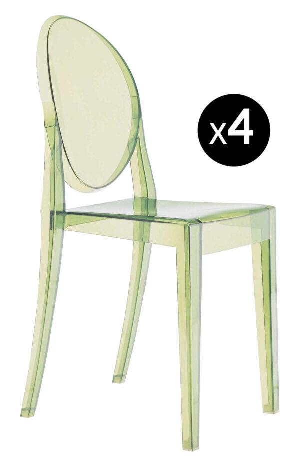 Sedia impilabile Victoria Ghost - Set di 4 Verde Kartell Philippe Starck 1