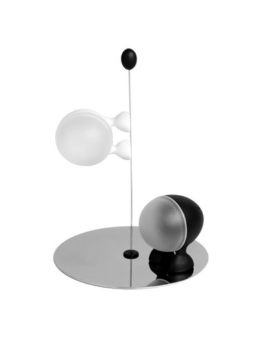 Salt and pepper polished stainless Lilliput | White | Black Alessi Stefano Giovannoni 1