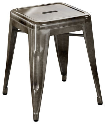 Stool H - H 45 cm raw steel with transparent dark paint Tolix Xavier Pauchard 1