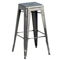 High stool H - H 75 cm raw steel with transparent varnish Tolix Xavier Pauchard 1