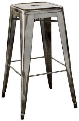 Tamborete alto H - aço bruto H 75 cm com transparente tinta escura Tolix Xavier Pauchard 1