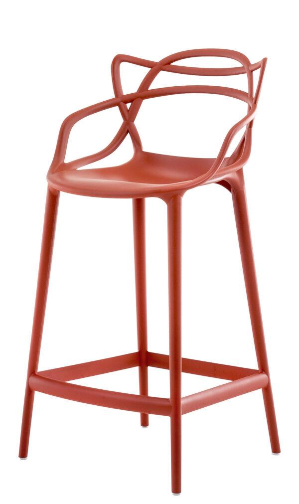 Tabouret haut Masters - H 65 cm Orange rouille Kartell Philippe Starck | Eugeni Quitllet 1
