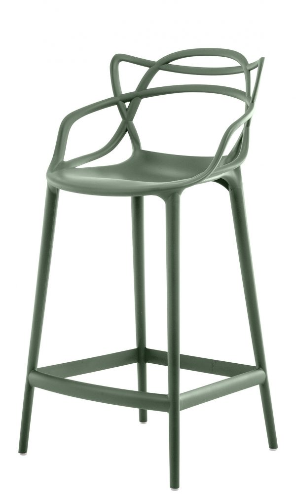 Masters high stool - H 65 cm Sage green Kartell Philippe Starck | Eugeni Quitllet 1