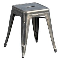 Low stool H - H 45 cm color steel with transparent varnish Tolix Xavier Pauchard 1