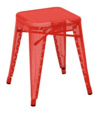 Tabouret bas H - Rouge Tolix Chantal Andriot 45 1 cm H