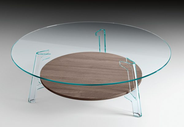 Transparent Flute Coffee Table | Oak FIAM Lucidi Pevere Studio
