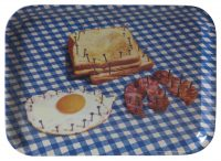 Bandeja de papel higiênico - Café da manhã - 43 x 32 cm Multicolor | Branco | Azul Seletti Maurizio Cattelan | Pierpaolo Ferrari