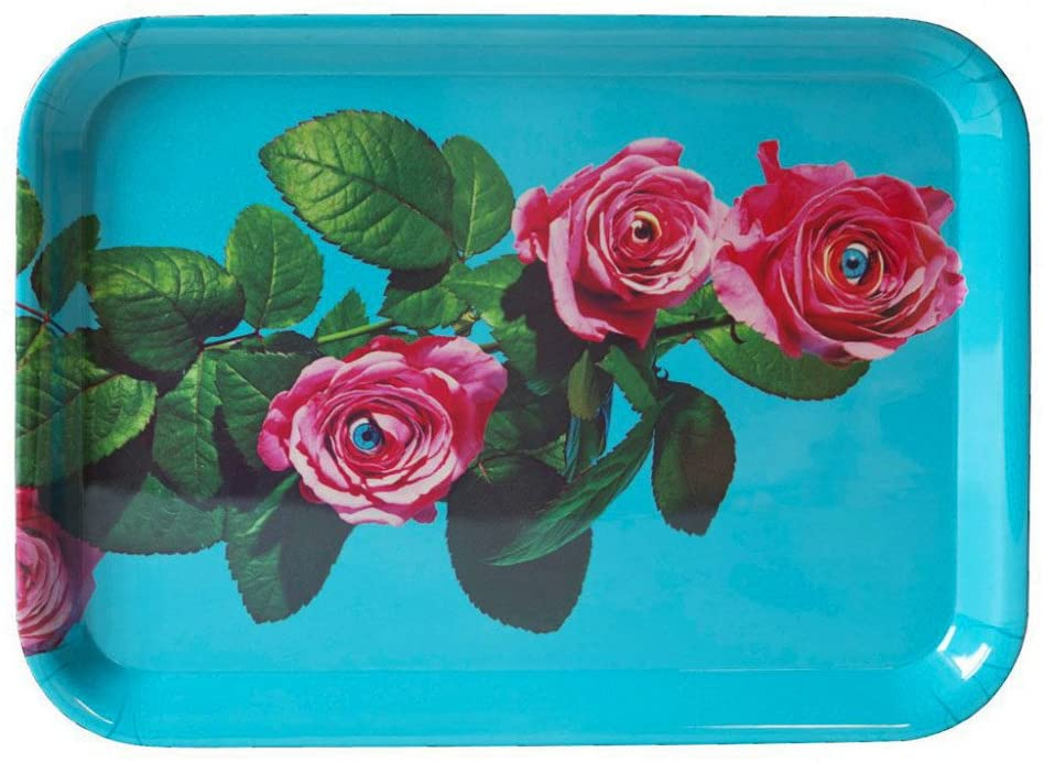 Bandeja de papel higiênico - Rosas - 43 x 32 cm Seletti multicolorido Maurizio Cattelan turquesa   Pierpaolo Ferrari