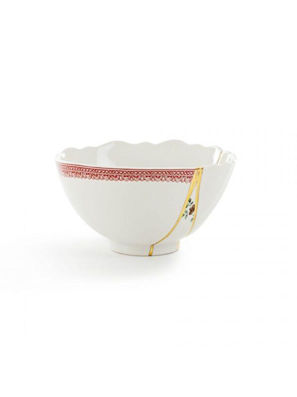 Kintsugi Schüssel Rote Motive Weiß | Mehrfarbig | Gold Seletti Marcantonio Raimondi Malerba