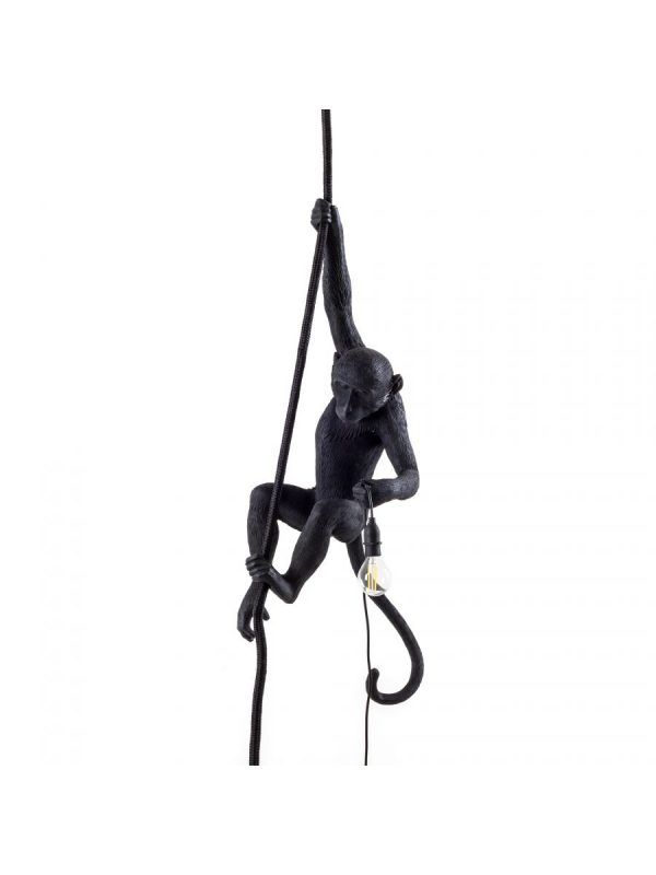 Monkey Hanging Outdoor Suspension Lamp - H 80 cm Black Seletti Marcantonio Raimondi Malerba