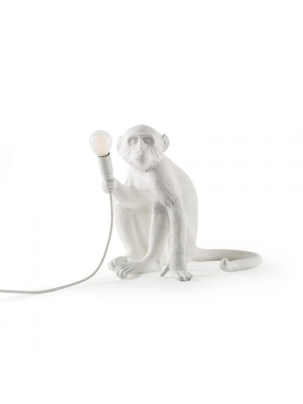 Lámpara de mesa Monkey Sitting - H 32 cm Blanco Seletti Marcantonio Raimondi Malerba