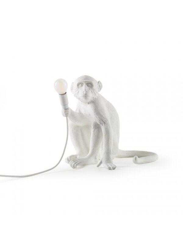 Affensitz-Tischlampe im Freien - H 32 cm Weiß Seletti Marcantonio Raimondi Malerba