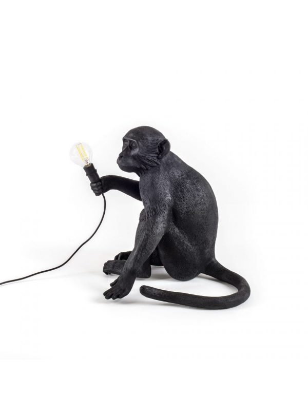 Lampada Da Tavolo Monkey Sitting Outdoor - H 32 cm Nero Seletti Marcantonio Raimondi Malerba