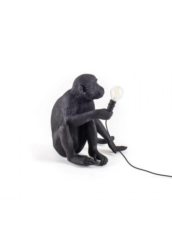 Lámpara de mesa de exterior Monkey Sitting - H 32 cm Negro Seletti Marcantonio Raimondi Malerba