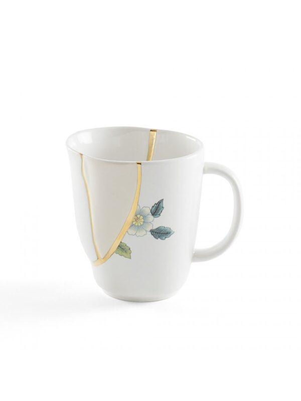Mug Kintsugi Motifs Bleu Blanc | Multicolore | Or Seletti Marcantonio Raimondi Malerba