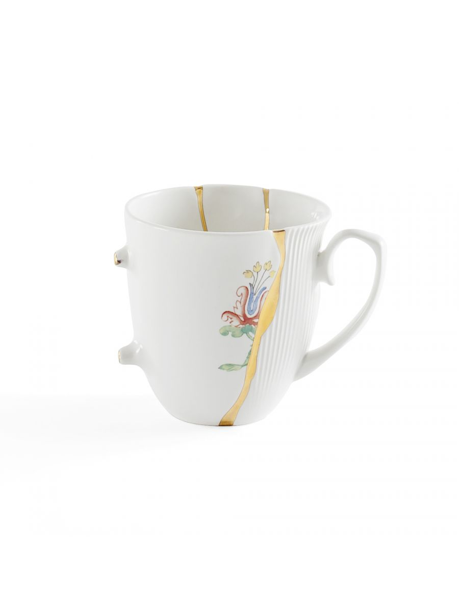 Becher Kintsugi Mehrfarbige Motive Weiß | Mehrfarbig | Gold Seletti Marcantonio Raimondi Malerba