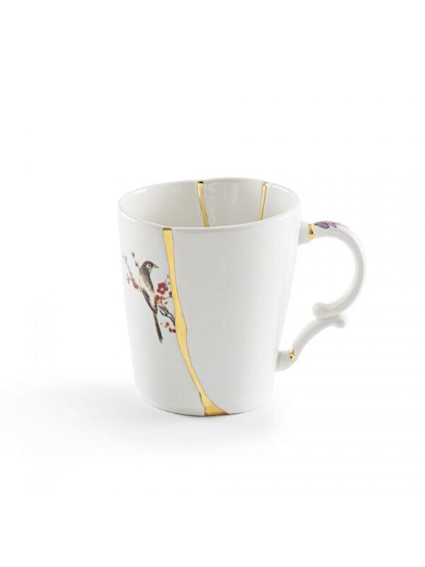Mug Kintsugi Wouj motif Blan | Multicolor | Gold Seletti Marcantonio Raimondi Malerba
