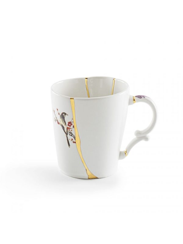 Mug Kintsugi Red motifs White | Multicolor | Gold Seletti Marcantonio Raimondi Malerba