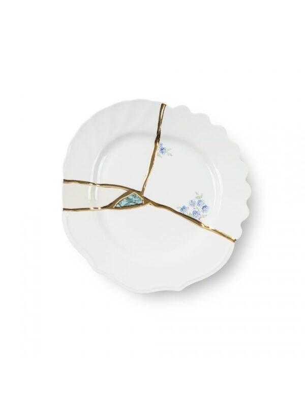 Prato De Sobremesa Kintsugi Azul Motivos Branco | Multicolor | Ouro Seletti Marcantonio Raimondi Malerba