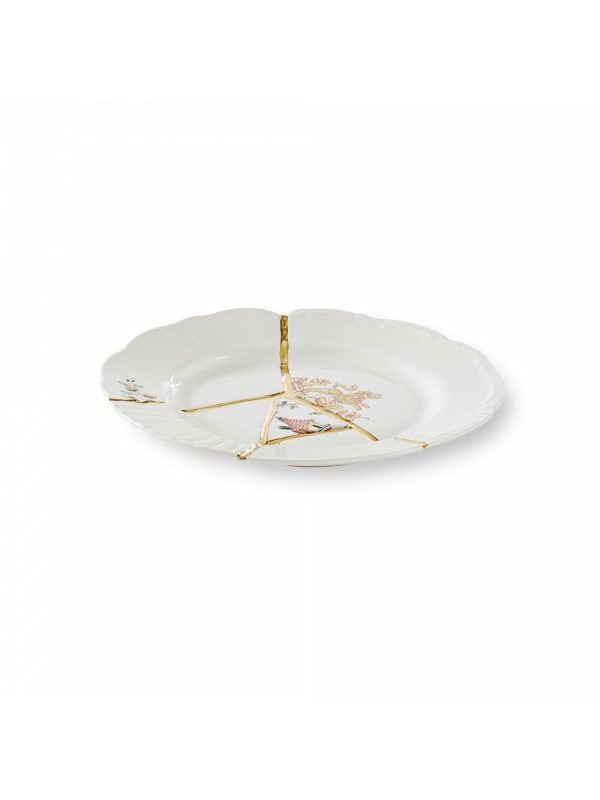 Kintsugi Dessert Plate Πολύχρωμα μοτίβα Λευκά | Πολύχρωμα | Χρυσό Seletti Marcantonio Raimondi Malerba