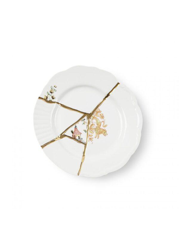 Prato de sobremesa Kintsugi Motivos multicoloridos Branco | Multicolorido | Ouro Seletti Marcantonio Raimondi Malerba