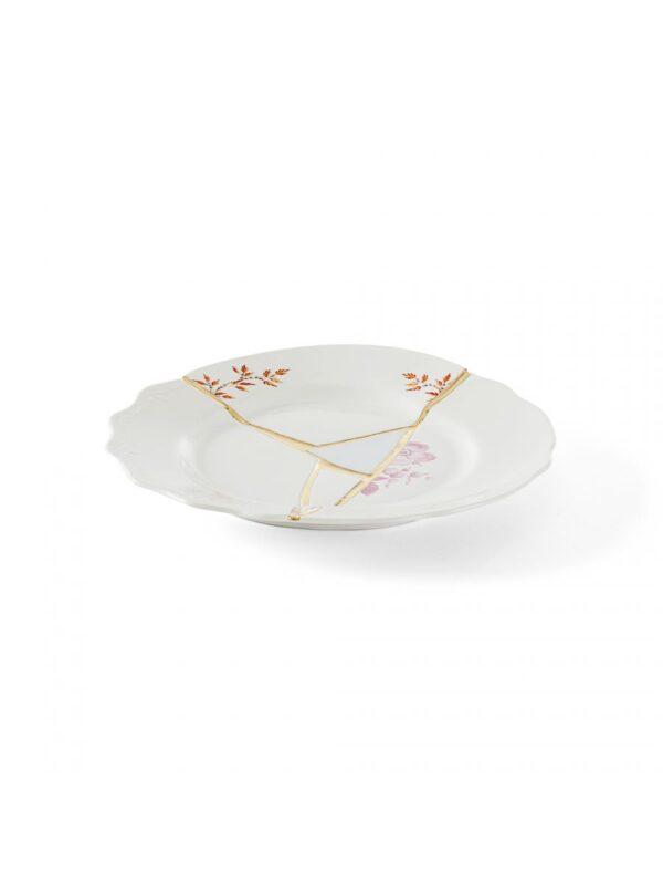 Piatto Da Dessert Kintsugi Motivi rossi Bianco|Multicolore|Oro Seletti Marcantonio Raimondi Malerba
