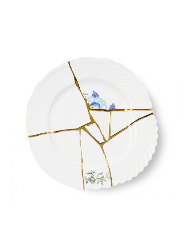 Kintsugi Dinner Plate Blue Motifs White | Πολύχρωμο | Χρυσό Seletti Marcantonio Raimondi Malerba