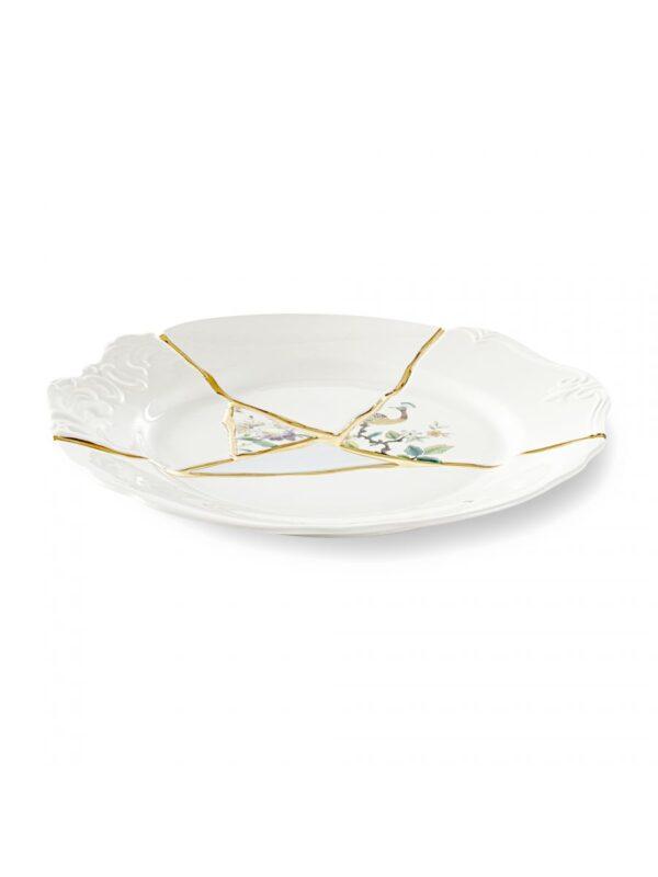 Assiette Kintsugi Multicolore Motifs Blanc | Multicolore | Or Seletti Marcantonio Raimondi Malerba